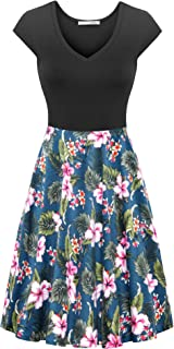 Messic Women's Summer Vintage Pockets Swing Casual Party Workout Dress