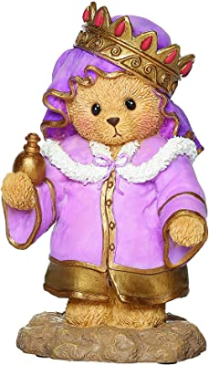 Roman 133485 Bear King Crown Red Gems Figurine, 4 inch, Multicolor