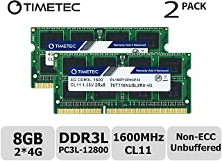 Timetec Hynix IC 8GB Kit (2x4GB) DDR3L 1600MHz PC3-12800 Unbuffered Non-ECC 1.35V CL11 1Rx8 Single Rank 204 Pin SODIMM Portatil Memoria Principal Module Upgrade (8GB Kit (2x4GB))