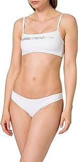 Emporio Armani Swimwear Top & Brazilian Brief Bikini Light Logo Set Donna