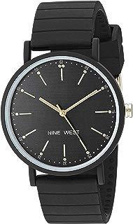 Nine West NW/2330BKBK - Reloj de pulsera para mujer (correa de silicona), color negro