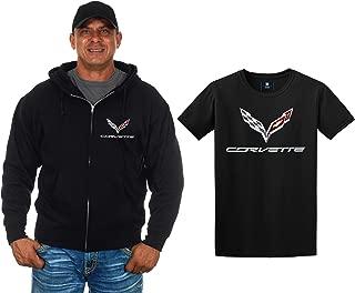 JH Design Chevy Corvette C7 Zip-up Hoodie & Corvette T-Shirt Combo Gift Set for Men