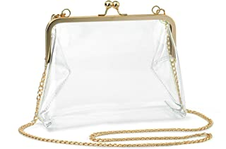 Clear Transparent PVC Kiss Lock Chain Cross Body Bag Womens Clutch