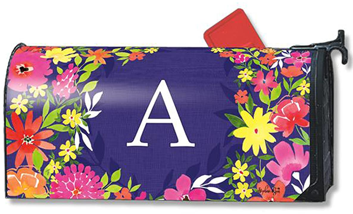 Pretty Petals Monogram A Magnetic Mailbox Cover Spring Floral Colorful Letter A