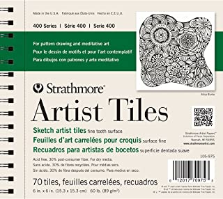 """Strathmore 105-975 400 Series Sketch Artist Tiles, Fine Tooth 6""""x6"""", 70 Sheets"""