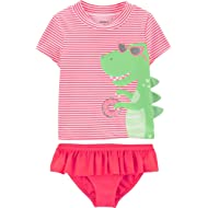 Carter's Baby Girls Swimsuit Rashguard Set (Floral)