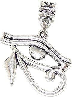 Silver Plated Dangling Eye of Horus For European Snake Chain Bracelets