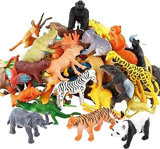 Animals Figure,54 Piece Mini Jungle Animals Toys Set,ValeforToy Realistic Wild Vinyl Plastic Animal Learning Party Favors ...