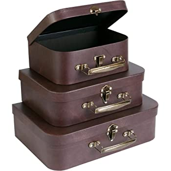 SLPR Cardboard Suitcase Boxes with Handle (Set of 3, Brown Leather) | Paperboard Boxes with Lids for Wedding Decoration Birthday Parties
