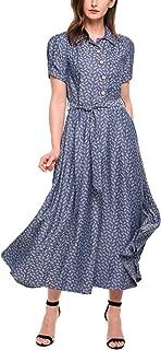 Women Vintage Style Turn Down Collar Short Sleeve High Waist Maxi Swing Dress with Belt