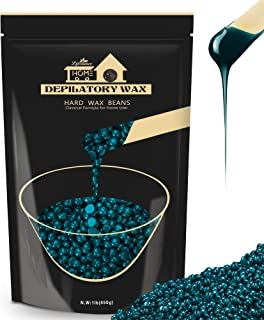 Hard Wax Beans Hair Removal Kit, Lifestance Hard Wax Kit Delilatory Wax Beads for Facial, Brazilian Bikini, Underarms, Back and Chest, Legs At Home Waxing 1.1lb Blue Wax Refill