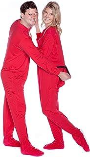 Algodón Jersey adulto patas pijamas con el asiento de la gota