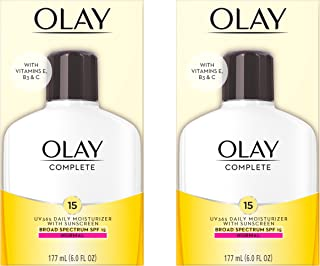 Face Moisturizer by Olay Complete Lotion All Day Moisturizer with SPF 15 for Normal Skin, 6.0 fl oz, Pack of 2