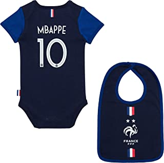 86ebc0bf19b96 Equipe de FRANCE de football Body + Bavoir FFF bébé - Kylian MBAPPE -  Collection Officielle