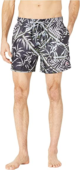 0ccd01d8a2 Scotch & Soda Printed Melange Swim Shorts with Cut & Sewn Waistband ...