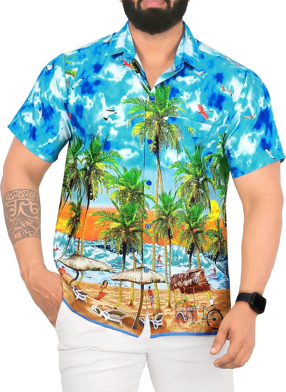 LA LEELA Men's Swim Casual Short Sleeve Portland Mall New product Aloha Shirt Hawaiian