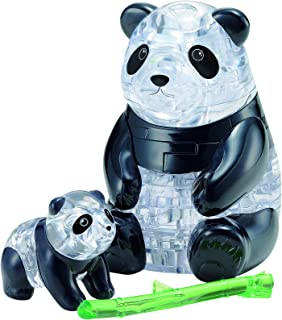 BePuzzled Original 3D Crystal Jigsaw Puzzle - Panda Bear & Baby Animal Assembly Brain Teaser, Fun Model Toy Gift Decoration for Adults & Kids Age 12 & Up, 50Piece (Level 1)