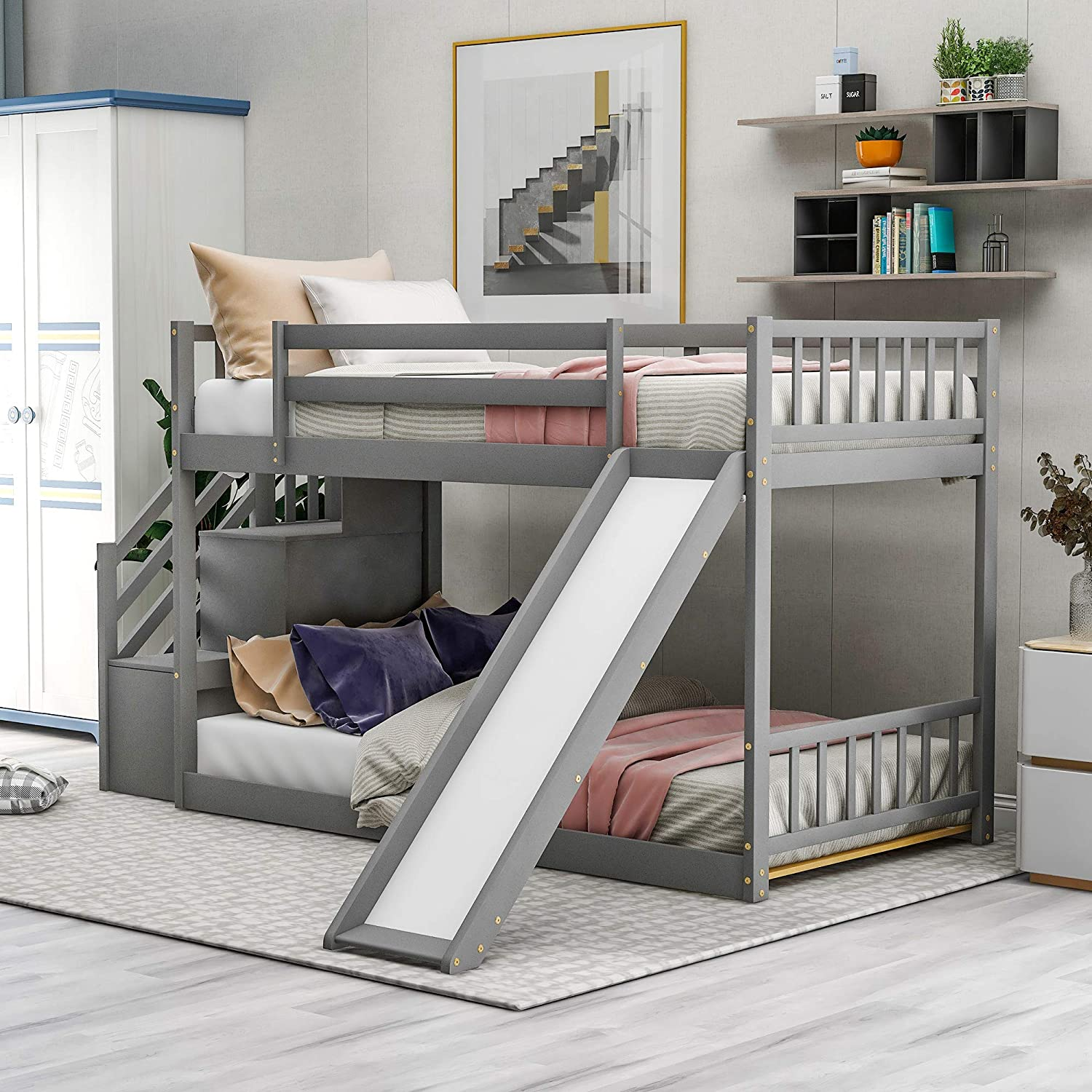 Buy Softsea Toddlers Low Bunk Beds With Slide Twin Over Twin Bunk Bed With Stairs And Storage Space For Kids Teens Juniors Multifunctional Design Two Step Stairs Storages Grey Bunk Online In Indonesia