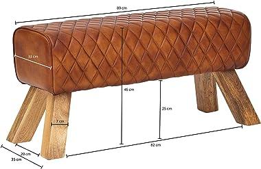 FineBuy Cuir véritable/Bois Massif Banc 89 x 46 x 35 cm Design Moderne   Rembourré Banc   Banc en Cuir Salle à Manger Brun  