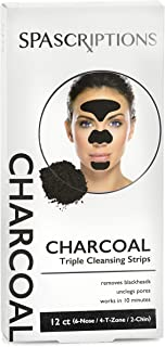 Spascriptions Triple Zone Cleansing Strips of Activated Charcoal Nose Strips For Blackheads Removal, Nose + Forehead T-Zon...