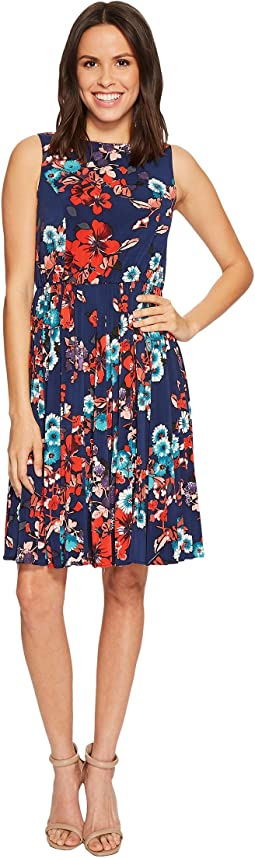 Adrianna Papell - Botanical Soiree Floral Printed Pleated Fit and Flare Dress, Fully Lined