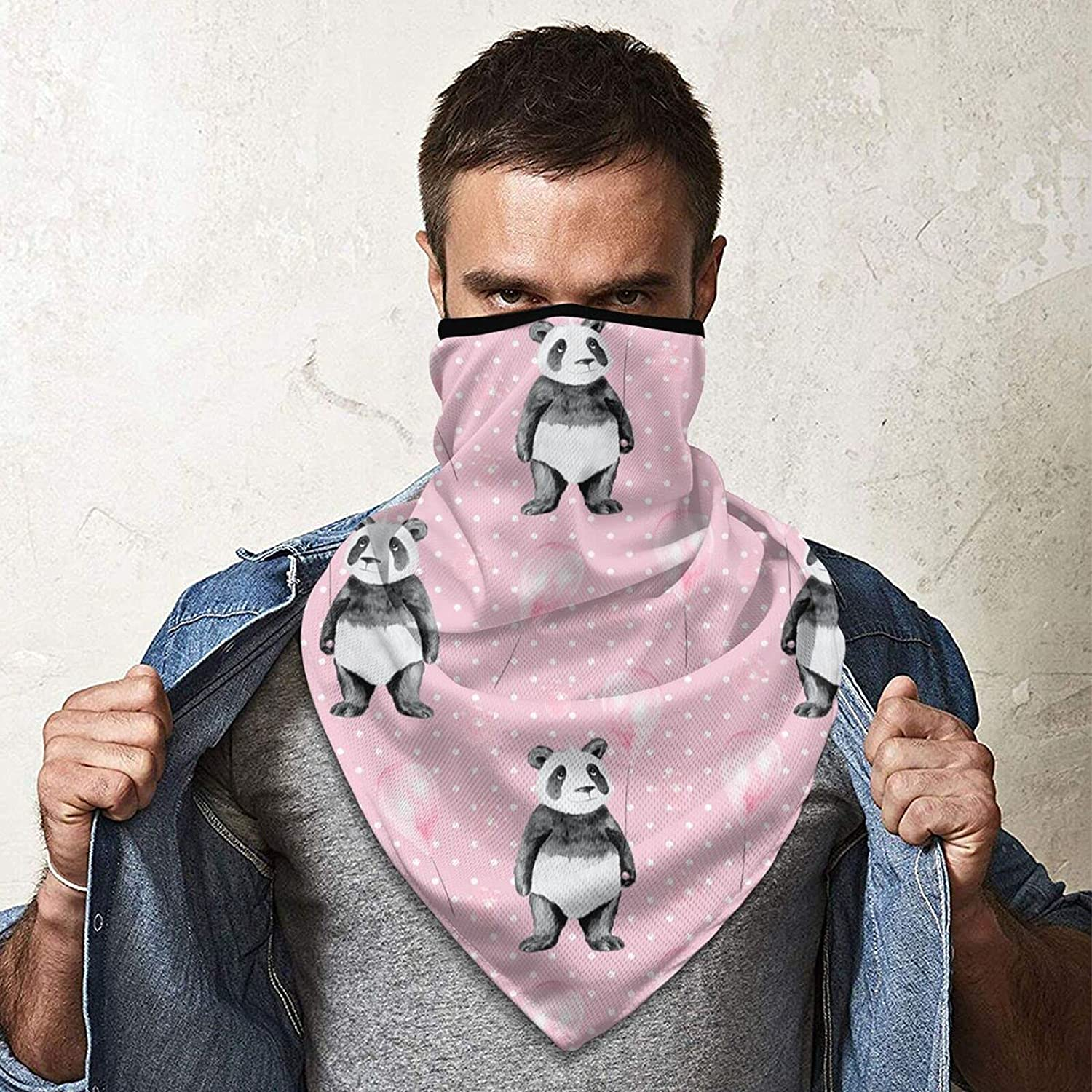 Cartoon Panda Neck Gaiter Bandnas Face Cover Uv Protection Prevent bask in Ice Triangle Scarf Headbands Perfect for Motorcycle Cycling Running Festival Raves Outdoors Black