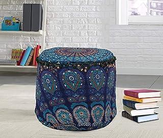 Ottoman Pouf Cover Indian Floor Kussen Retro Ronde Kussen Zitbank Cover Ottomaanse Voetbank Bean Bag Kussen Meditatie Case...