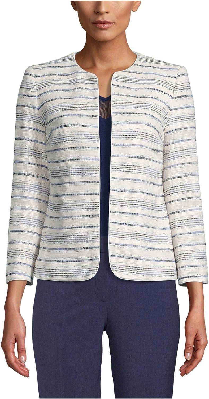 Anne Klein Women's Zip Front Collarless Jacket