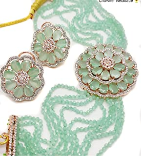 Total Fashion Handmade Gold Plated American Diamond & MultiStrand Mint Green Choker Necklace with Earrings Set for Women