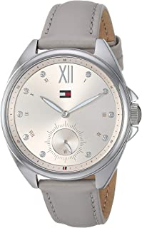Tommy Hilfiger Women's Casual Stainless Steel Quartz Watch with Leather Strap, Grey, 15.6 (Model: 1781990)