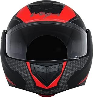 Vega Crux DX Full Face Helmet (Checks Dull Black and Red, M)