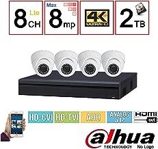 Dahua OEM 4K Security Package: 8CH 4K Pentabrid (XVR5108H-4KL) (CVI/TVI/IP/AHD/Analog) DVR + (4) 4MP (HAC-HDW1400M) Outdoor HDCVI IR Eyeball Dome Camera w/2TB Security Hard Drive Installed