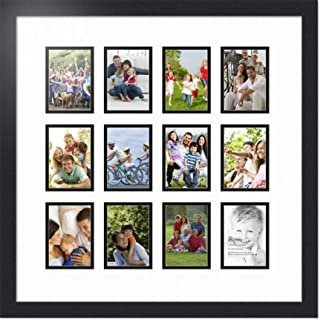 ArtToFrames Collage Photo Frame Double Mat with 12 - 3.5x5 Openings and Satin Black Frame
