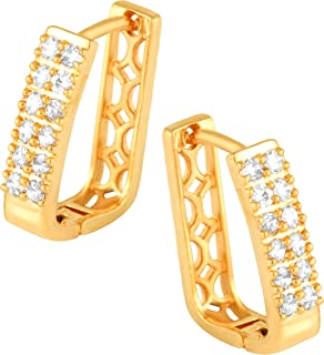 MEENAZ Traditional American diamond Jewellery Gold Plated Brass Copper Clip on Handcrafted Square shape Double Solitaire C...