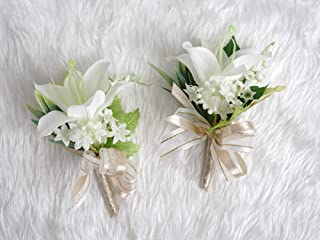 TSG Precious Lily Boutonniere Pins Groom for Wedding Prom Party(2pcs) (Beige Theme)