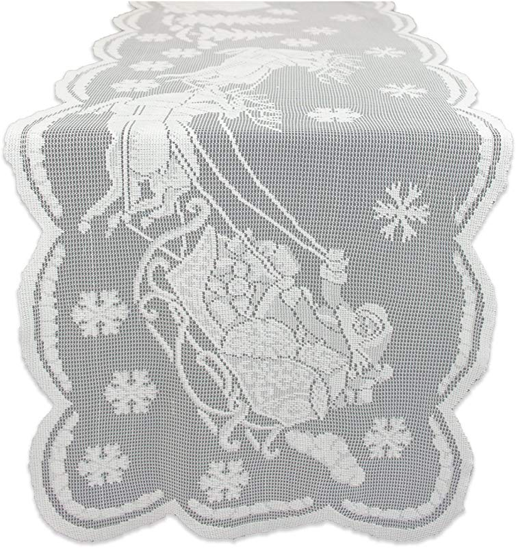 DII 100 Polyester Machine Washable Holiday Snow Village Lace Table Runner 14x72 White