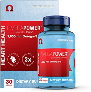 Oceanblue Omega Power – 30 ct – One Capsule a Day – Burpless Omega-3 Fish Oil Supplement with High-Concentration EPA and D...