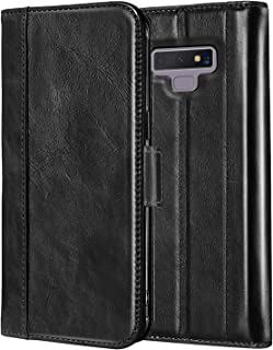 ProCase Galaxy Note 9 Genuine Leather Case, Vintage Wallet Folding Flip Case with Kickstand and Multiple Card Slots Magnetic Closure Protective Cover for Samsung Galaxy Note 9 -Black