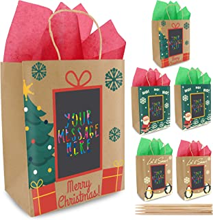 6 Christmas Gift Bags with Scratch Paper Panel for Personalized Messages - 3 Different Designs, Red & Green Tissue Paper Included! Unique Holiday Kraft Paper Gift Bags | Amazing for Wrapping Presents!