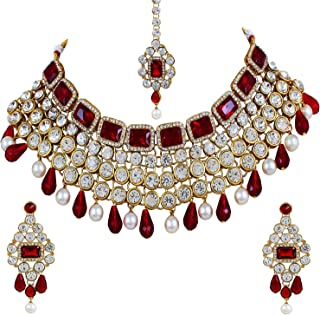 Shining Diva Party Wear Crystal Choker Traditional Jewellery Necklace Set with Maang Tikka Earrings for Women (Red) (6825s)