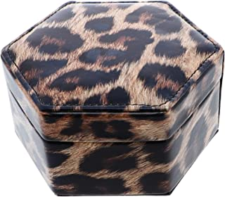 Small Jewelry Organizer Box Two Layer Jewelry Chest - Brown Leopard