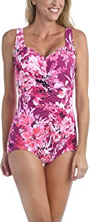 Maxine Of Hollywood Women's Shirred Front Girl Leg One Piece Swimsuit