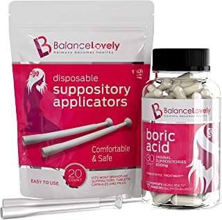 Boric Acid Suppositories with Applicators-100% Pure Boric Acid -600mg in Vegan Capsules- Supports Feminine Hygiene & Vaginal pH - Treatment of Yeast Infections, Bacterial Vaginosis & Relieve Pain