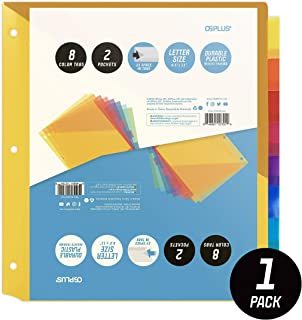 OS Plus 8-Tab Plastic Binder Dividers with 2 Pockets, Insertable Multicolor Big Tabs, 1 Set