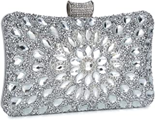 Clocolor Evening Bags and Clutches for Women Crystal Clutch Beaded Rhinestone Purse Wedding Party Handbag