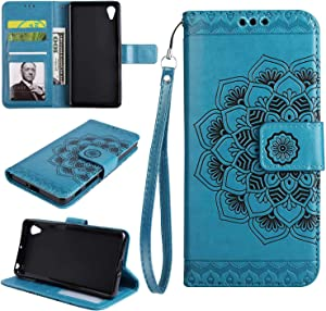 Sony Xperia Case THRION Half Mandala Flower Leather Flip Wallet Cover with Card Slot Holder and Magnetic Closure for Sony Xperia XA  Blue