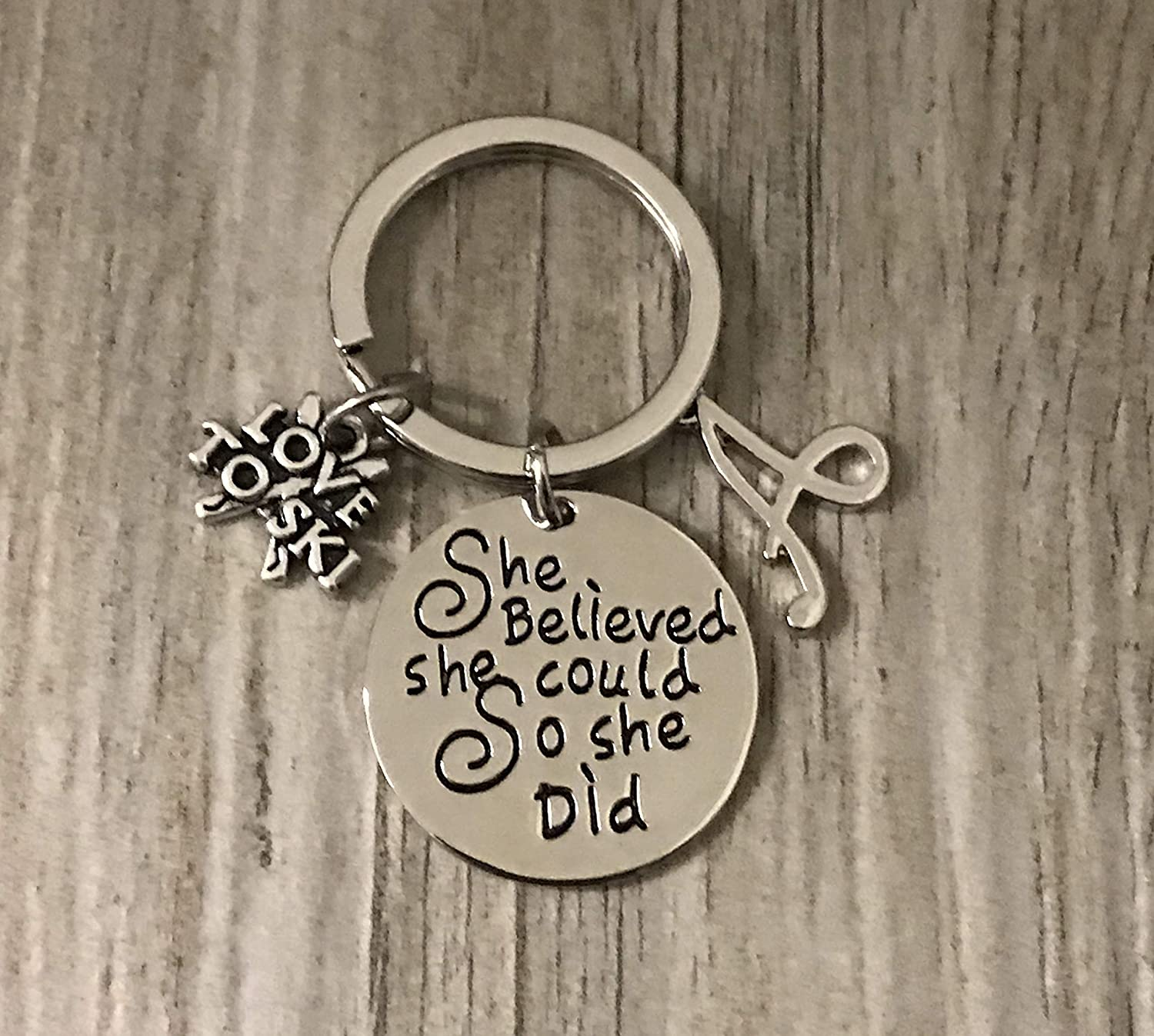 Personalized Limited time sale Ski Charm Keychain with She Letter Discount mail order Belie