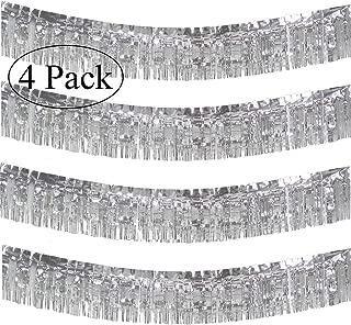 10 Feet Long Roll Silver Foil Fringe Garland - Pack of 4 | Shiny Metallic Tassle Banner | Ideal for Parade Floats, Bridal Shower, Bachelorette, Wedding, Birthday | Wall Hanging Fringe Garland Banner