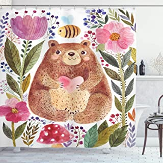 Modern Illustration of Cute Bear with Flowers and Bee Art Shower Curtain Set