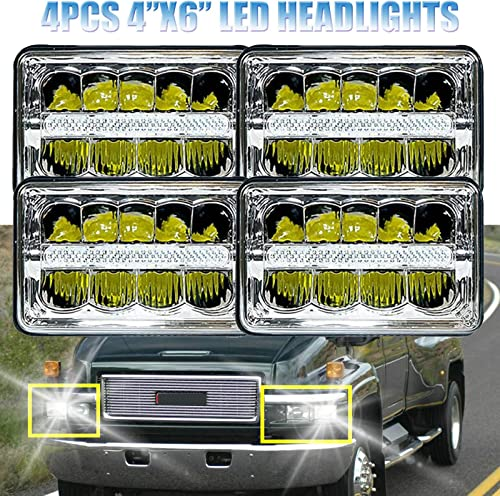 2021 For GMC G1500 G2500 online sale G3500 C2500 C3500 Suburban K3500 LED Sealed Beam Headlights 4X6 High Low Super Bright outlet sale H4651 H4652 H4656 H4668 H6545 Replacement 4PCS, 2 Year Warranty sale